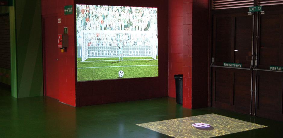 An interactive game where players can kick a virtual soccer ball towards a goal.